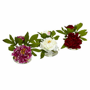 """3 Pcs Peony W/Glass Vase Floral Nearly Natural Home Decoration Green Leaves 6"""""""