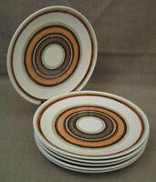 """(6) 1970's Vtg Royal China Cavalier Santa Fe MCM Bullseye 10"""" Dinner Plates Mint"""