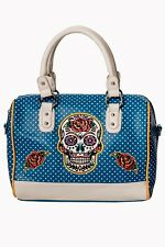 Teal Mexican Candy Sugar Skull Polka Dot Retro Gothic Handbag By Banned Arel
