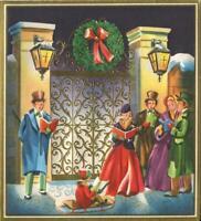 VINTAGE CHRISTMAS GOLD EMBOSSED LANTERN SLED VICTORIAN CAROLER ART GREETING CARD