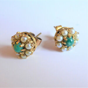 Pearl Earrings 9CT Gold Set with Green Turquoise Pearl Wedding Anniversary