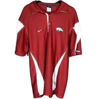 Nike Arkansas Razorback Polo Shirt M Men Red Performance Dri-Fit Polyester
