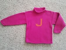Claver Monogram J Cotton Knit Sweater Pink Girls Size 8 Orange Mock Neck Initial