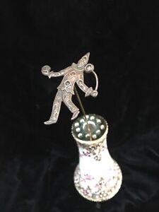 "Antique VICTORIAN Vintage Hatpin Clown Juggler Metal Top 9"" Edwardian"