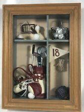 Golf Theme Hanging 3D Shadow Box Picture Frame 12x9 Clubs Caddy Balls 18 Hole
