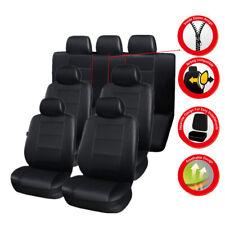 3 Row Car Seat Covers Luxury Leather Car Cushion 7-Seats Car Universal Black