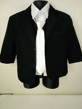Boy's size 4 black 4-piece formal suit with jacket, shirt vest,and tie!