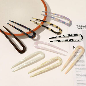 U Shaped Hair Clip Tortoiseshell Sticks Acetate Hairpin Chinese Style Resin Fork