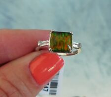 Canadian Ammolite, White Topaz RING (Size 7) Platinum/Silver  TGW 2.13 cts.