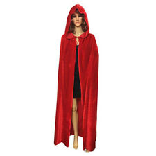 Gothic Hooded Velvet Cloak Robe Medieval Witchcraft Cape Halloween Costume S-XL