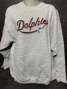 Vtg Miami Dolphins 90s NFL Crewneck Sweatshirt L /Xl Heavyweight Rare!