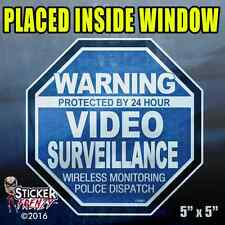 """5 Pack Warning 24 hour Video Surv. INSIDE Stickers  """"OCT"""" BLUE Alarm Decal FS061"""