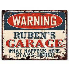 PPFG0203 WARNING RUBEN'S GARAGE Tin Chic Sign Home man cave Decor Funny Gift