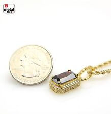 "Men's 14kt Gold Hip Hop Micro Mini Red Ruby Pendant 20"" Rope Chain Set BCH 11176"