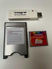 PCMCIA Adapter Compact Flash Karte 8 GB mit Kartenleser