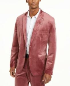Inc Men's Open Front Long Sleeve Slim-Fit Velvet Blazer (Red, M)