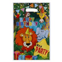 10pcs Safari Animals Gift Bags Plastic Loot Bags Candy Bag Kids Birthday Dec O1
