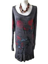 Ladies DESIGUAL Grey Multi Coloured Long Sleeved Dress Size Medium