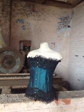 Burlesque Steel Boned BustierBasque, Fancy Dress Masquerade Outfit Green/Blue