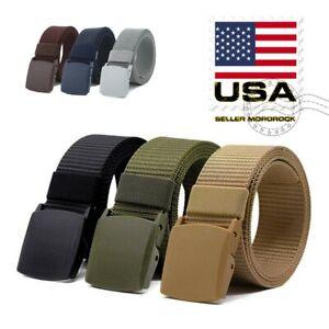 Men's Plastic Cam Buckle Nylon Canvas Tactical Waistband Webbing Military Belt