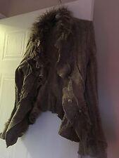 Juju & Christine Ladies Cardigan Size S romantic/boho Wool With Faux Fur collar