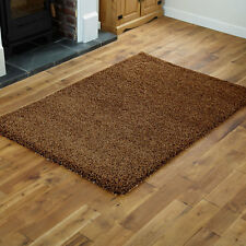 Beige Small Shaggy Rug - Thick 5cm Pile Modern 60x120cm Non Shed Rugs Mat