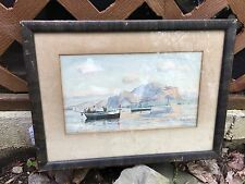 Signed listed artist ROSARIO DiFAZIO WATERCOLOR - FISHING BOATS PAINTED WALL ART