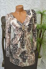 Kleid Freizeitkleid Volant knielang cappuccino braun Tigermuster langarm 38