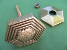 Poignée rosace hexagonale fixe ancienne 1970 laiton côté 6,1 cm porte d'entrée
