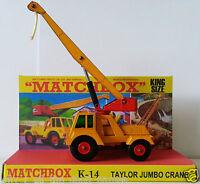 Lesney MATCHBOX Diecast KING SIZE K-14 TAYLOR JUMBO CRANE on Custom Display Box