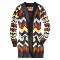 Missoni Long Heavy Knit Sweater Cardigan w pockets - Brown Multi Chevron S