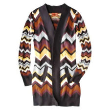Missoni Long Knit Open Sweater Cardigan w pockets - Black/Gold/Brown Chevron XS