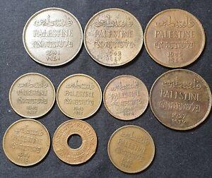RARE Old 10 Palestine Bronze Coins British Mandate 2 Mils 1 Mil 5 Mil *Israel*