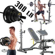 Olympic Weight Bench Set 300 Lb Bar Plate Lifting Equipment Workout Squat Rack