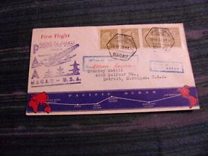 MACAO 1937 FFC TO HAWAII W/SCOTT# 284, STRIP OF 4