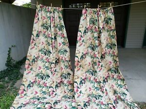 VINTAGE RETRO MID CENTURY FLORAL BARKCLOTH DRAPES FOR CUTTING HAPPILY MARRIED