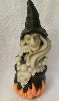 "Vintage Halloween Witch & Caldroun Black, Orange, Grey 5"" Tall Wizard"