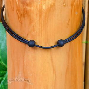 Leather Strap Black Adjustable Leather Necklace Surfer Necklace