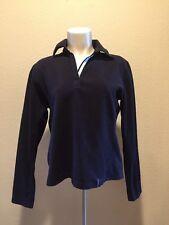 REI Womens Solid Black Polyester Fleece V-Neck Pullover Medium