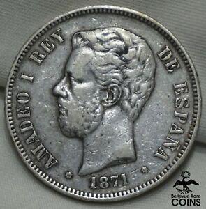 1871 SD-M Spain 5 Pesetas Silver Amadeao I Coin KM#666 BEAUTIFULLY DETAILED!
