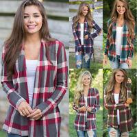 Women Casual Plaid Printing T Shirt Long Sleeve Tops Cardigan Loose Fall Blouse
