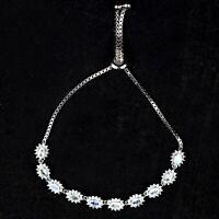 925 Sterling Silver Natural Rainbow Moonstone Gemstone Adjustable Chain Bracelet