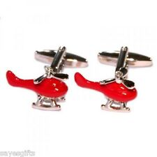High Quality Rhodium Plated Red Helicopters Cufflinks