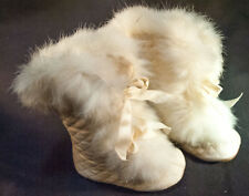 1900 Pair Of Early Childs White Winter Carriage Boots