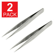 "2-Pack Fine Point Silver Tone Pointy Straight Tweezers 4 1/2"" L6"
