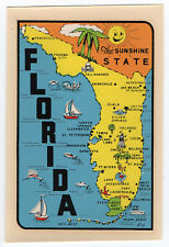 Souvenir TRAVEL DECAL ca.1950s-60s FL FLORIDA State Map, Fun Graphics, L-T VG+.a