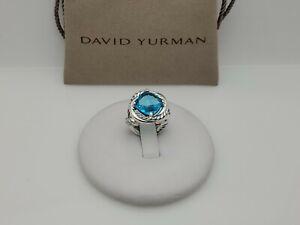 David Yurman Sterling Silver Infinity 11mm Blue Topaz Ring Size 6