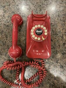 Grand Wall PhoneRed Retro 80's Style Pottery Barn Old Fashion ~Push Button