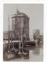 PHOTO ANCIENNE La Rochelle - Le port - Bateaux pêche 1907 - Tirage d'époque.