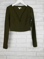 Kookai Crop top Long sleeve Sz 2, 10 Deep v-neck Green
